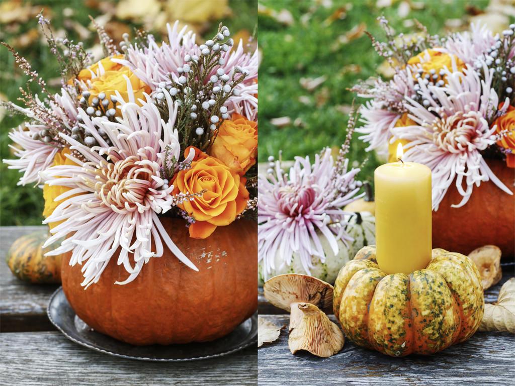 ハロウィンを彩るカボチャと花のテーブルデコレーション