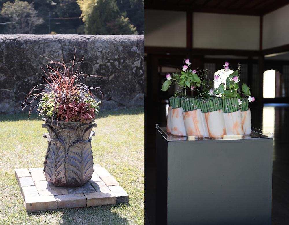 備前焼アートと植物の融合