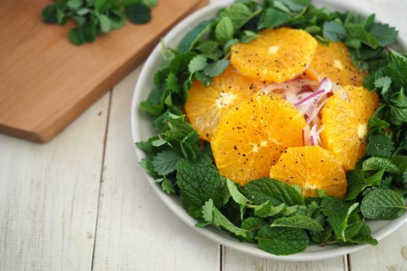 スペアミントとオレンジのサラダレシピ