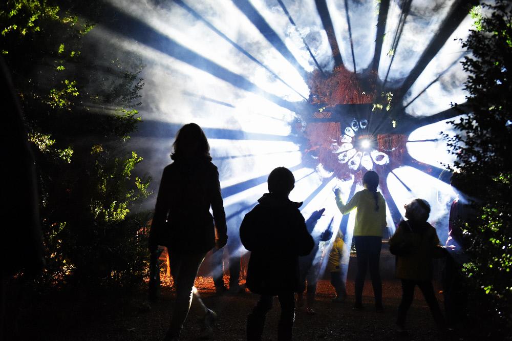 サーカス団の光のパフォーマンス