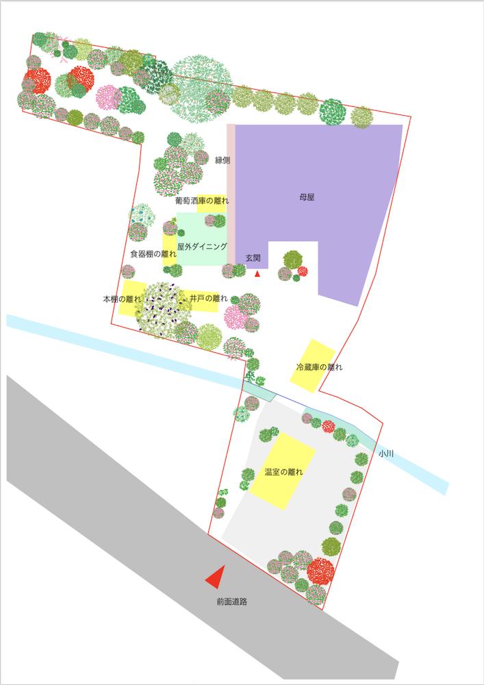 改修後の建築・植栽概要図