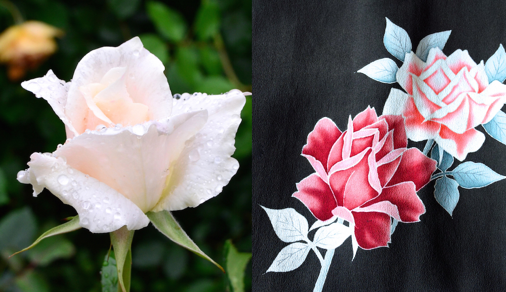 着物とバラ