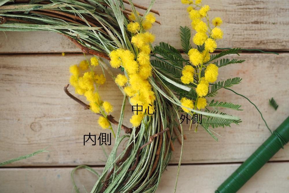 ミモザリースの作り方-枝を一定方向に向け花と葉を置き、リースベースに留めていきます。