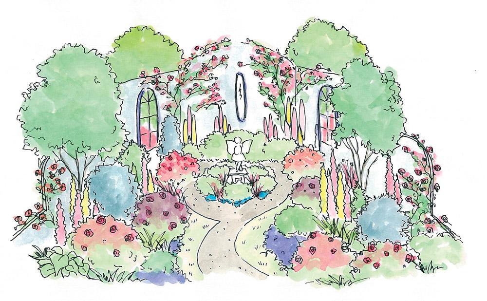 「妖精が棲む庭」ガーデンイメージ図。