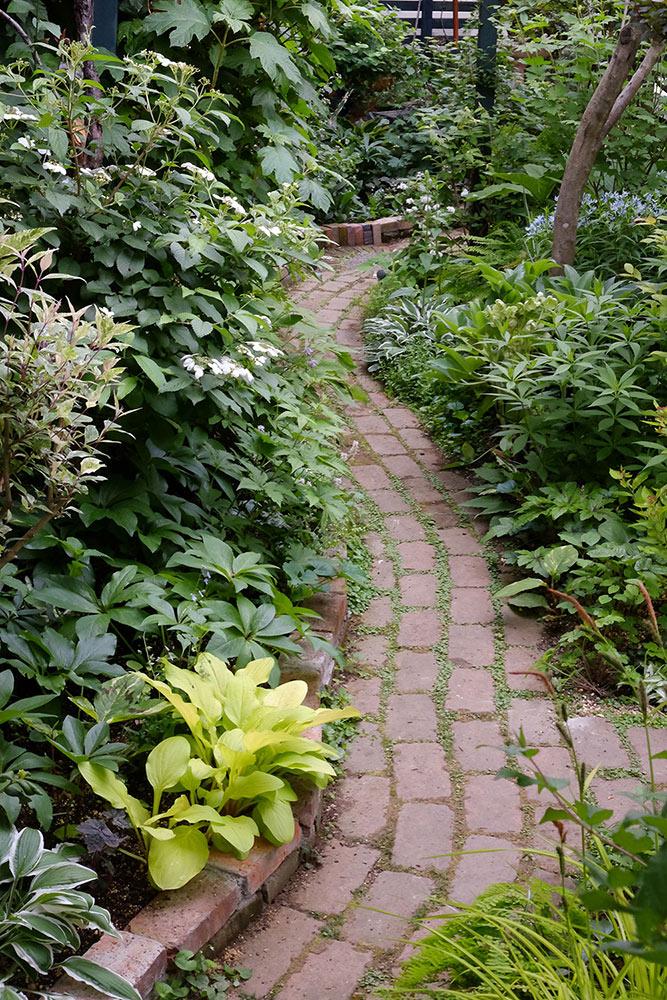 ガーデンのレンガの小道