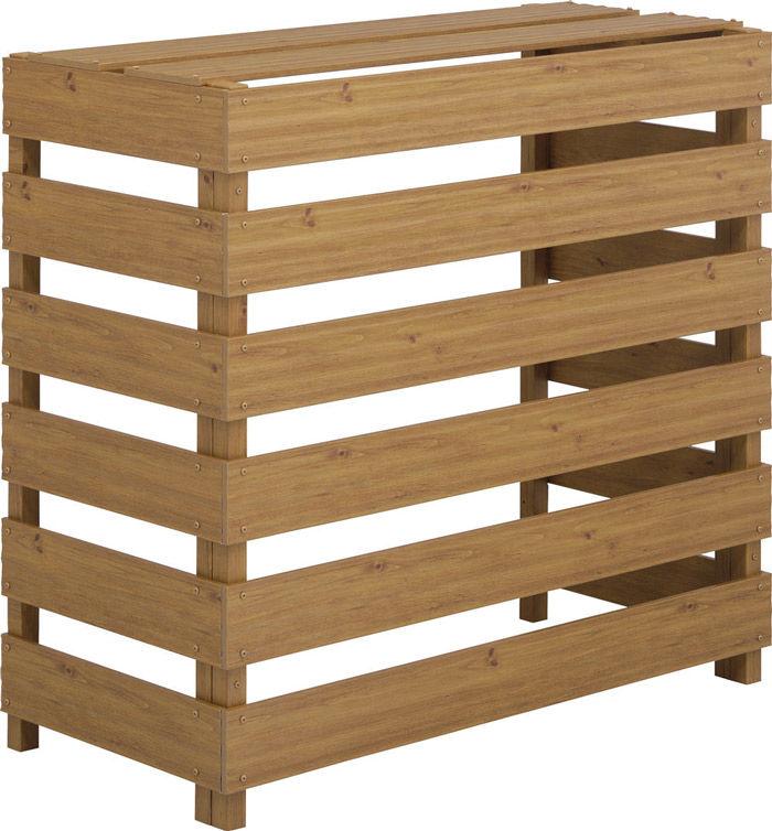 アルミ製:木目調人工木材の室外機カバー