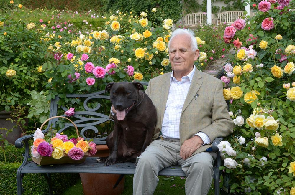 David Austin Sr. on Bench with Bertie(愛犬バーティーと)