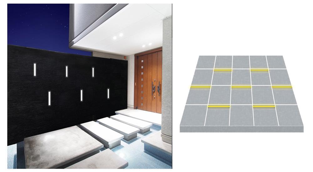 壁面や床に埋め込んでラインの光をデザインとして魅せた使い方