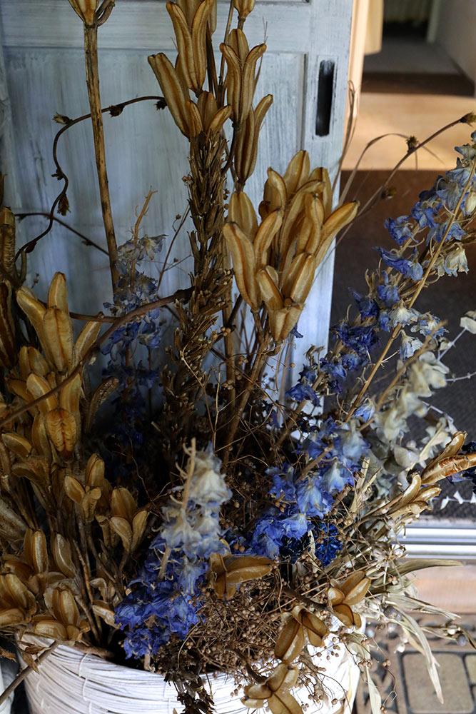 ドライフラワーの花カゴ