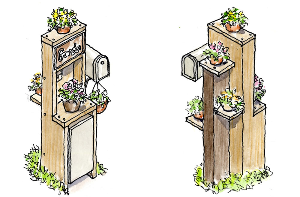 木の板材でつくった宅配ボックス付き門柱