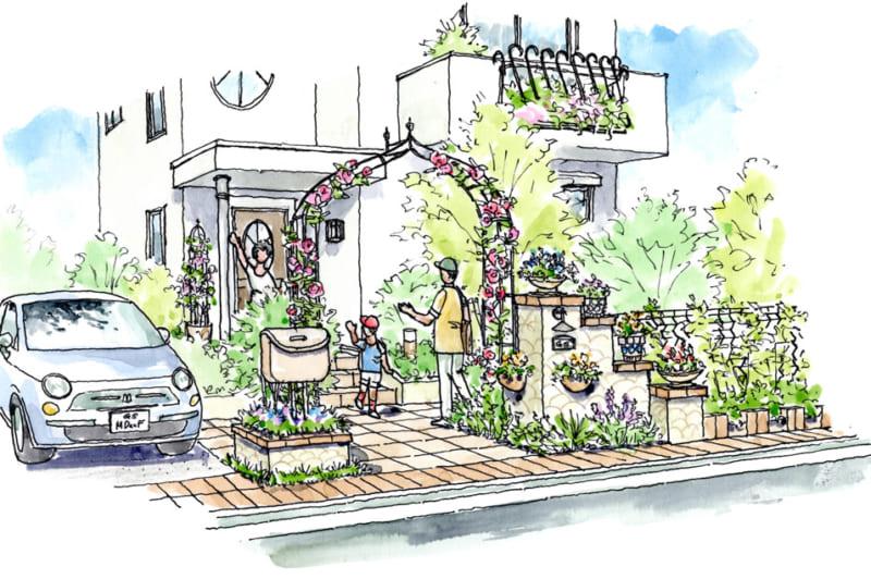 植物で楽しく飾るデザインをイラストで解説