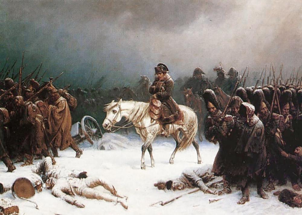モスクワから撤退するナポレオン