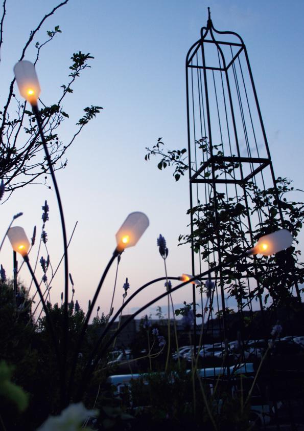 風でゆらゆら揺れる光で庭にアクセントを