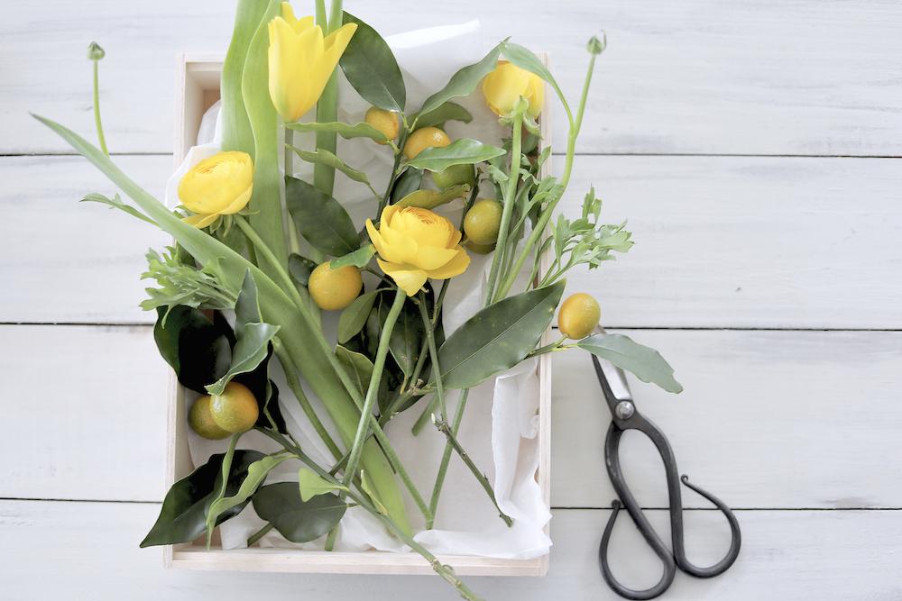 黄色のアレンジの花材