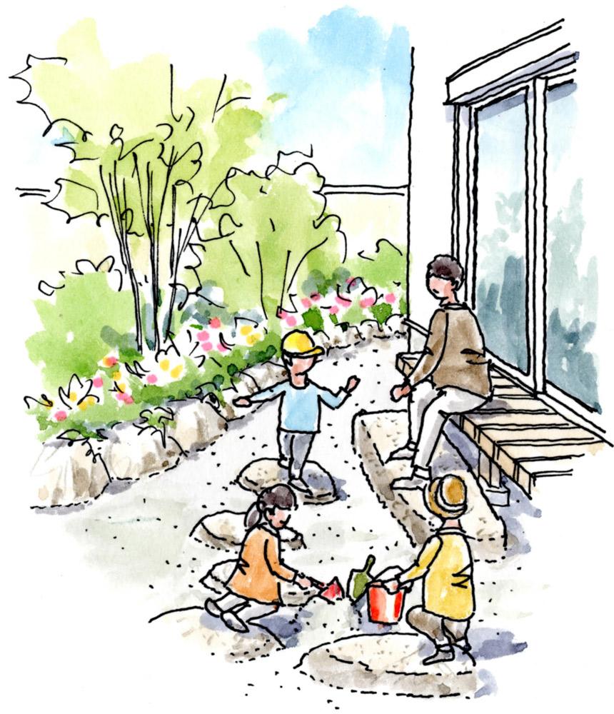 濡れ縁前も子どもの遊べる砂場に