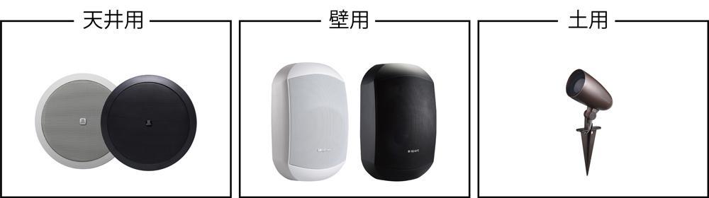 屋外両方で使える専用スピーカー(天井用・壁用・土用)