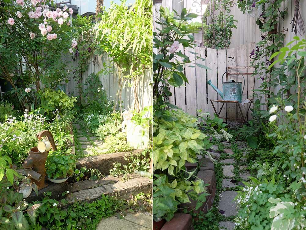 バラと枕木の階段