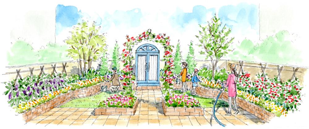 つるバラがシンボリックなシンメトリーのエディブルガーデン