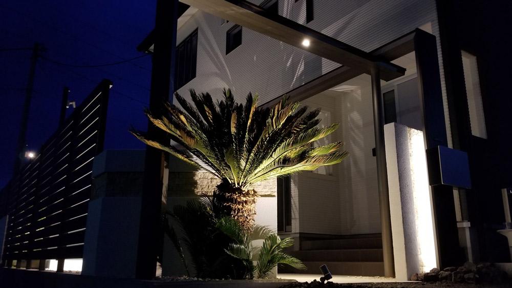 壁面に樹木の影を投影するシャドーライティングもオススメ