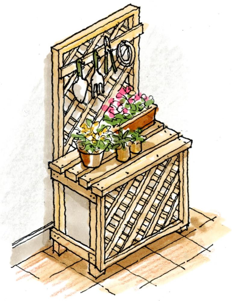 創作室外機カバー 鉢物を飾り、ガーデン用具をかける