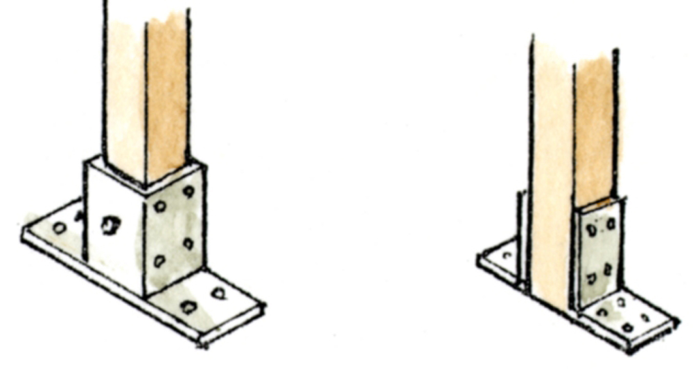 フェンス支柱は金具で取付可能