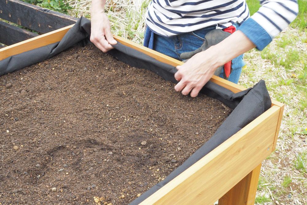 土の表面をならして、ライナーをしまいましょう