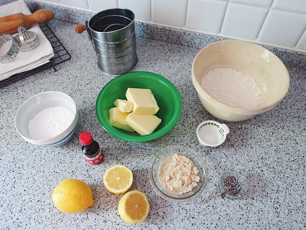 レモンラベンダーショートブレッドの材料