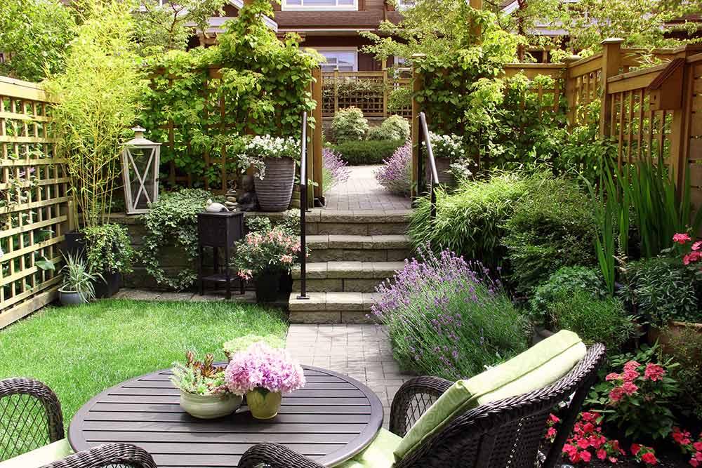住宅街の庭