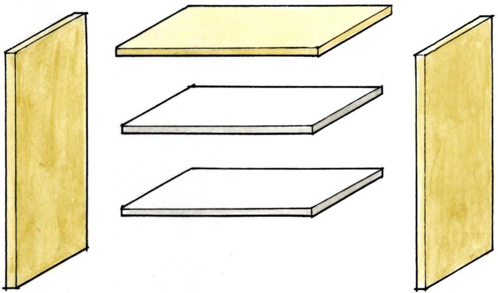 木材カットで楽しい棚づくり △色分けするときは組み立てる前に部材を塗装する