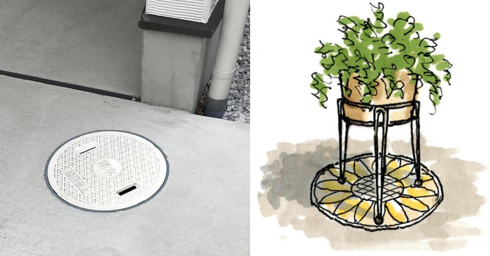 駐車場の床にある雨水桝。桝に絵を描いて鉢物コースターに