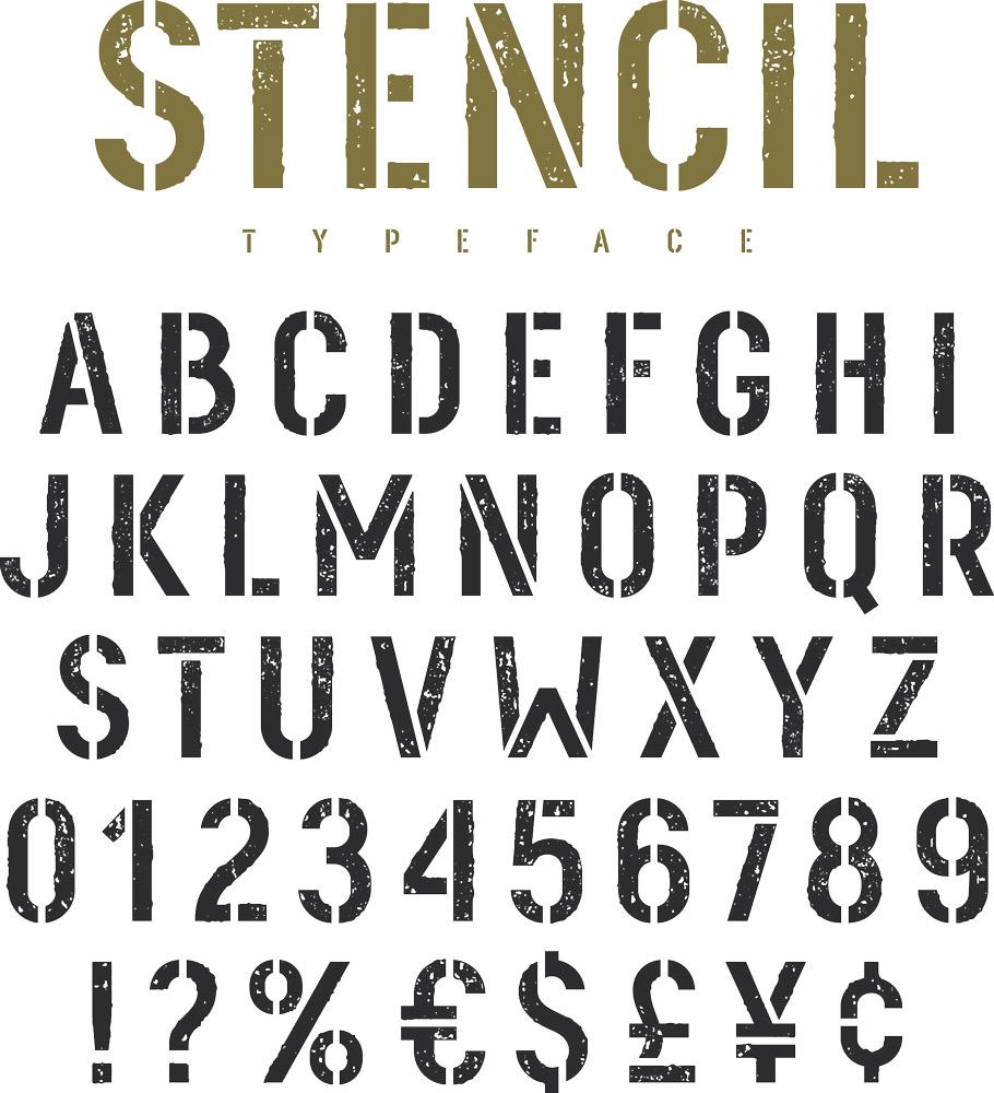 ステンシル用文字の参考例 /Shutterstock.com