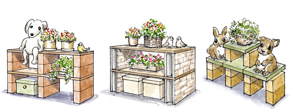 左から、木板とレンガ、木板と化粧ブロック、平板とレンガ