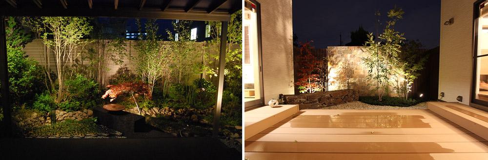 突き当りの植栽や壁面を一番明るくする
