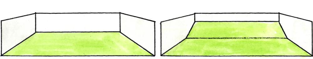 左:法面のない敷地/右:法面のある敷地 法面をつくると敷地が広く感じられる