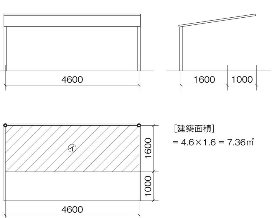 2本柱のカーポートの建築面積 柱から持ち出している2.6mの長さから1.0mを引いた分のイが建築面積になる。
