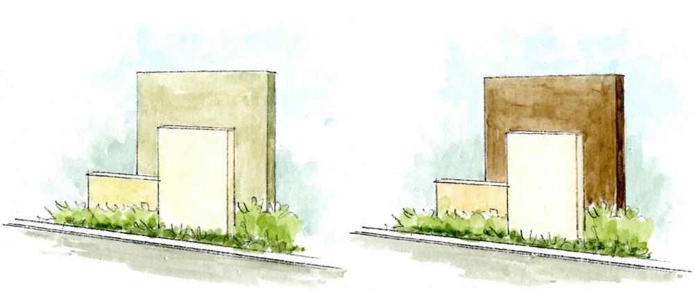 手前の縦長の長方形の壁は左図より右図の方が飛び出して見える