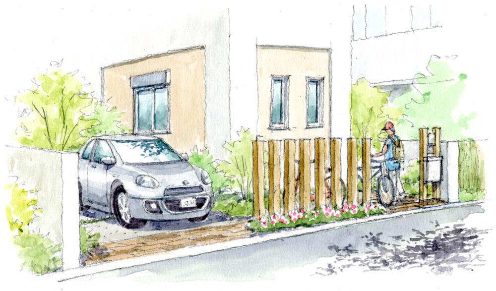 ファサードをステキに見せる駐車場とサイクルポートのデザインVol.1