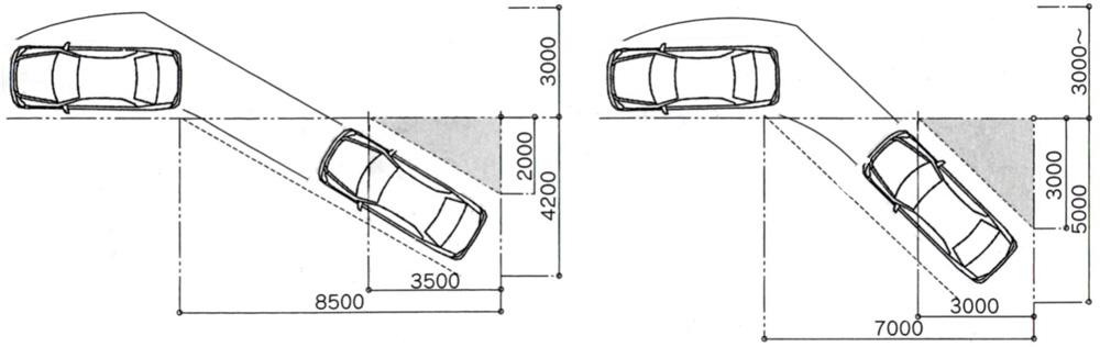 斜め駐車のサイズ(左:30度・右45度・単位mm)