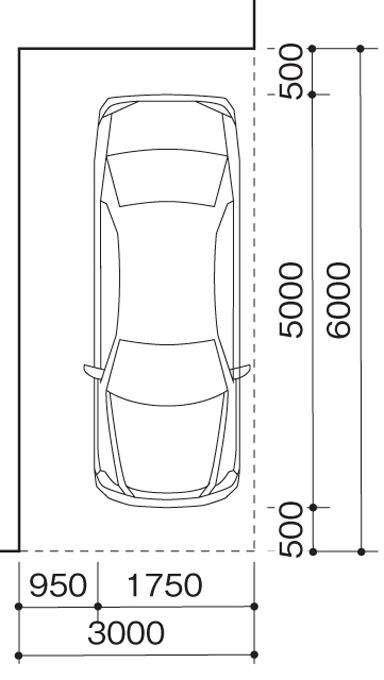 直角駐車のサイズ(単位:mm)