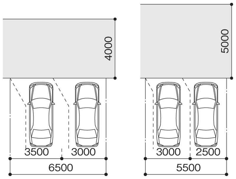 直角2台駐車のサイズ(単位:mm)
