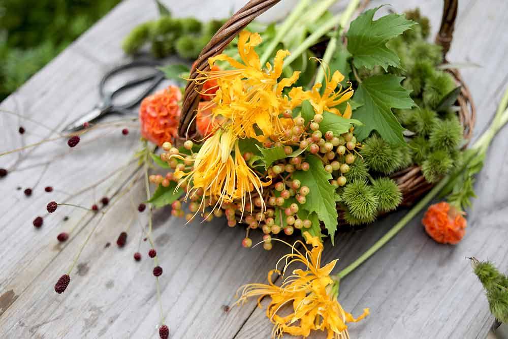 秋の花でアレンジ