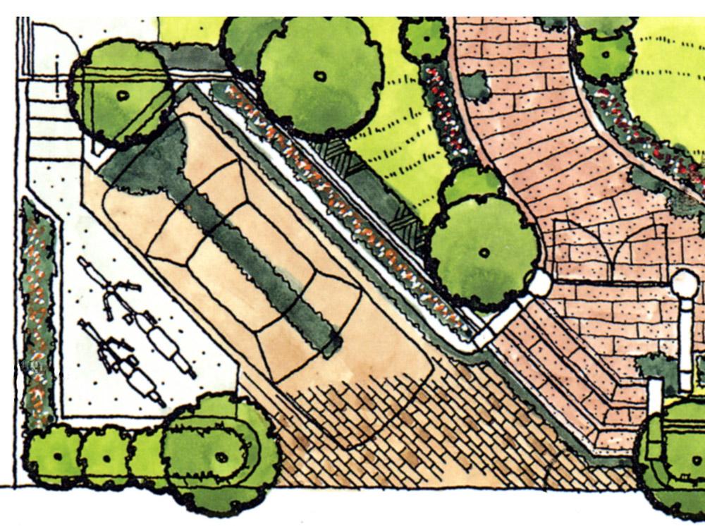 斜め駐車で植栽スペースやサイクルポートを確保する