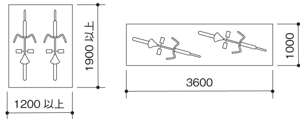 サイクルポートのサイズ(左:並行・右:縦列・単位:mm)