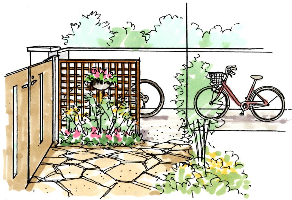 アプローチとサイクルポートはトレリスで区分