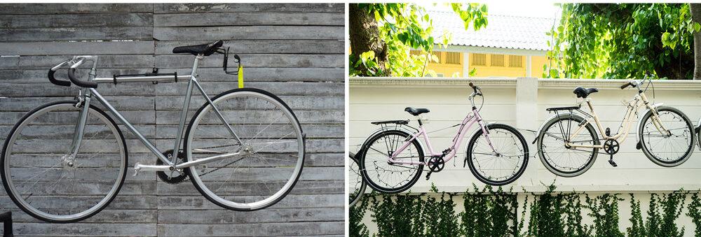 板壁にロードバイクを飾る