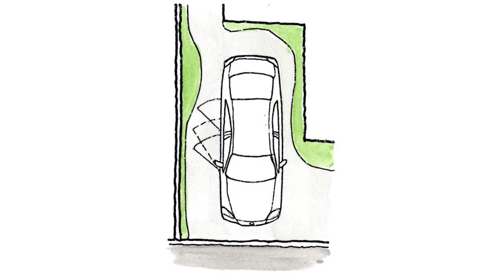 直角駐車では緑色の範囲が植栽できる
