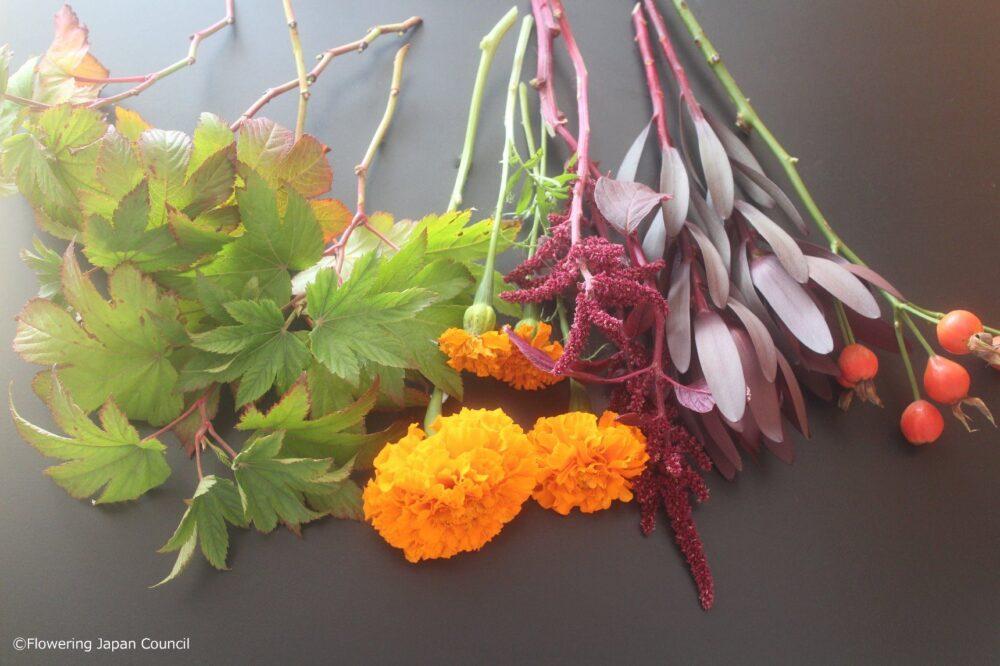 マリーゴールドのハロウィンアレンジ花材