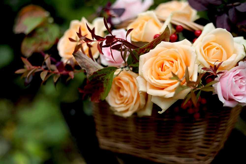 バラの秋色アレンジ