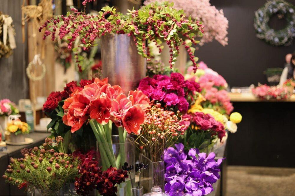 冬の花屋の春の花