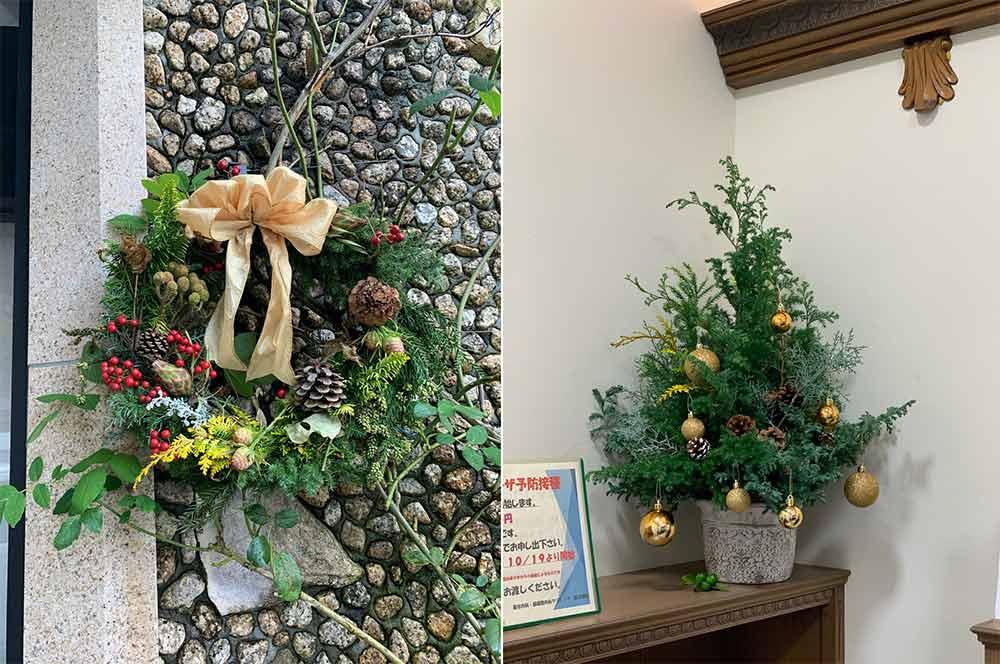 リースとクリスマスツリー